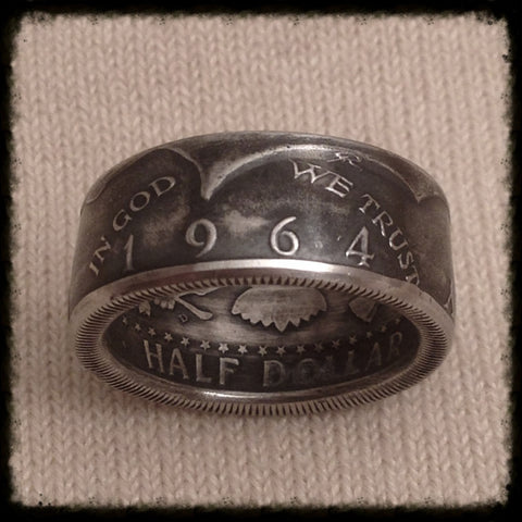 1964 JFK 90% Silver Coin Ring - Hand Made USA - Sizes 7 - 14.5