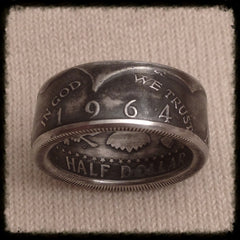 1964 JFK 90% Silver Coin Ring - Hand Made USA - Sizes 8.5 - 14.5 , Half Dollar - Coin Jewelry Co, Coin Jewelry Co - Coin Rings - Quarters - Half Dollars - Silver Dollars   - 1