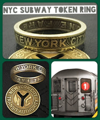 New York City Subway Token Ring Vintage - Sizes 4.5 to 11 , Token Rings - Coin Jewelry Co, Coin Jewelry Co - Coin Rings - Quarters - Half Dollars - Silver Dollars   - 1