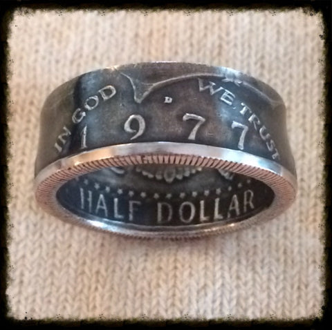 1971-2017 JFK Half Dollar Coin Ring - Hand Made USA - Sizes 8.0 - 15