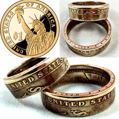 One Dollar Presidential Gold Color Coin - Sizes 5.5 - 11.5 , One Dollar - Coin Jewelry Co, Coin Jewelry Co - Coin Rings - Quarters - Half Dollars - Silver Dollars   - 1