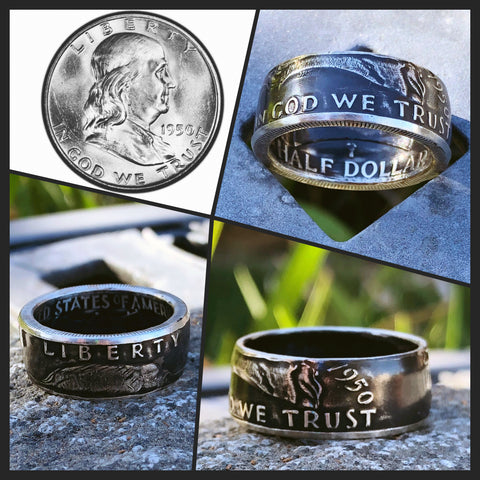 1948-1963 Benjamin Franklin Coin Ring - Hand Made USA - Sizes 7.5 - 15