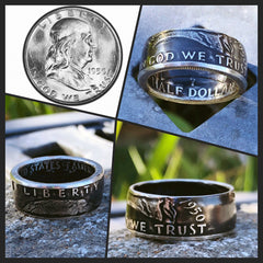 1948-1963 Benjamin Franklin Coin Ring - Hand Made USA - Sizes 8.5 - 15