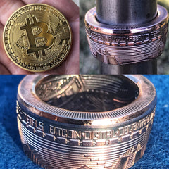 Bitcoin Coin Rings - Sizes 9.5 - 15 - Super Unique With A Rose Gold Color