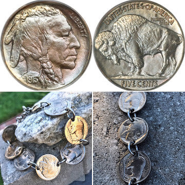 Vintage Buffalo Head Nickel Coin Bracelet - Only 2 Left