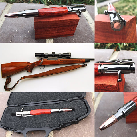 Hand Made Padauk Wood 30 Caliber Bolt Action Bullet Cartridge Pen - 1 left