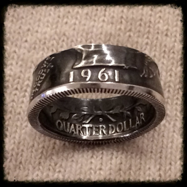 1932 1964 Silver Quarter Birth Year Coin Ring Hand Made