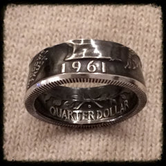 1932-1964 Silver Quarter - Birth Year Coin Ring Hand Made - Sizes 4.75 - 7.5 , Quarters Birth Years - Coin Jewelry Co, Coin Jewelry Co - Coin Rings - Quarters - Half Dollars - Silver Dollars   - 1