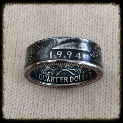 1965 - 1998 Washington Quarter Coin Ring - Birth Year Coin Ring - Sizes 4.5-10