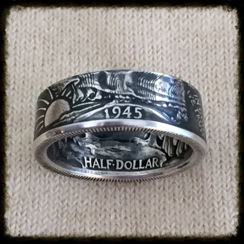 1935-1947 Walking Liberty Half Dollar Coin Ring - Sizes 7 - 14.5