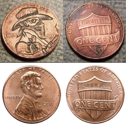 Hobo Nickel Penny Carving - Mr. STAGECOACH  ROBBER GUY