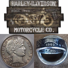 1903 Barber Half Dollar - Harley Davidson Was Established This Year - Sizes Available 8 - 14.5