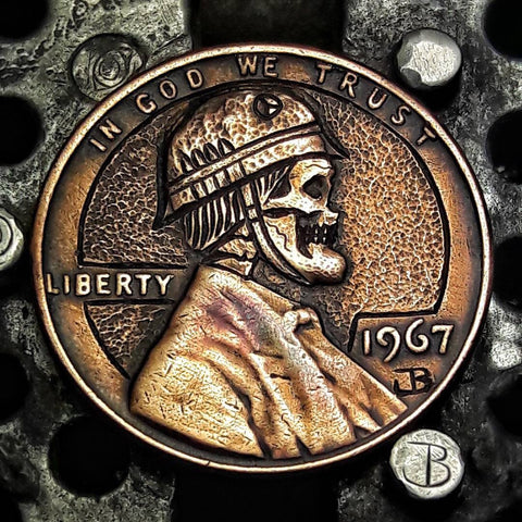 1967 Custom Carved Military Skull Penny