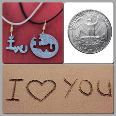 "Hand Saw Cut ""I LOVE YOU"" Quarter Necklace/Pendant - Just a few available"