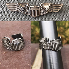 WW2 Steerling Silver Pilot Wings Ring - Size 5-7 Range - Just 1 Available