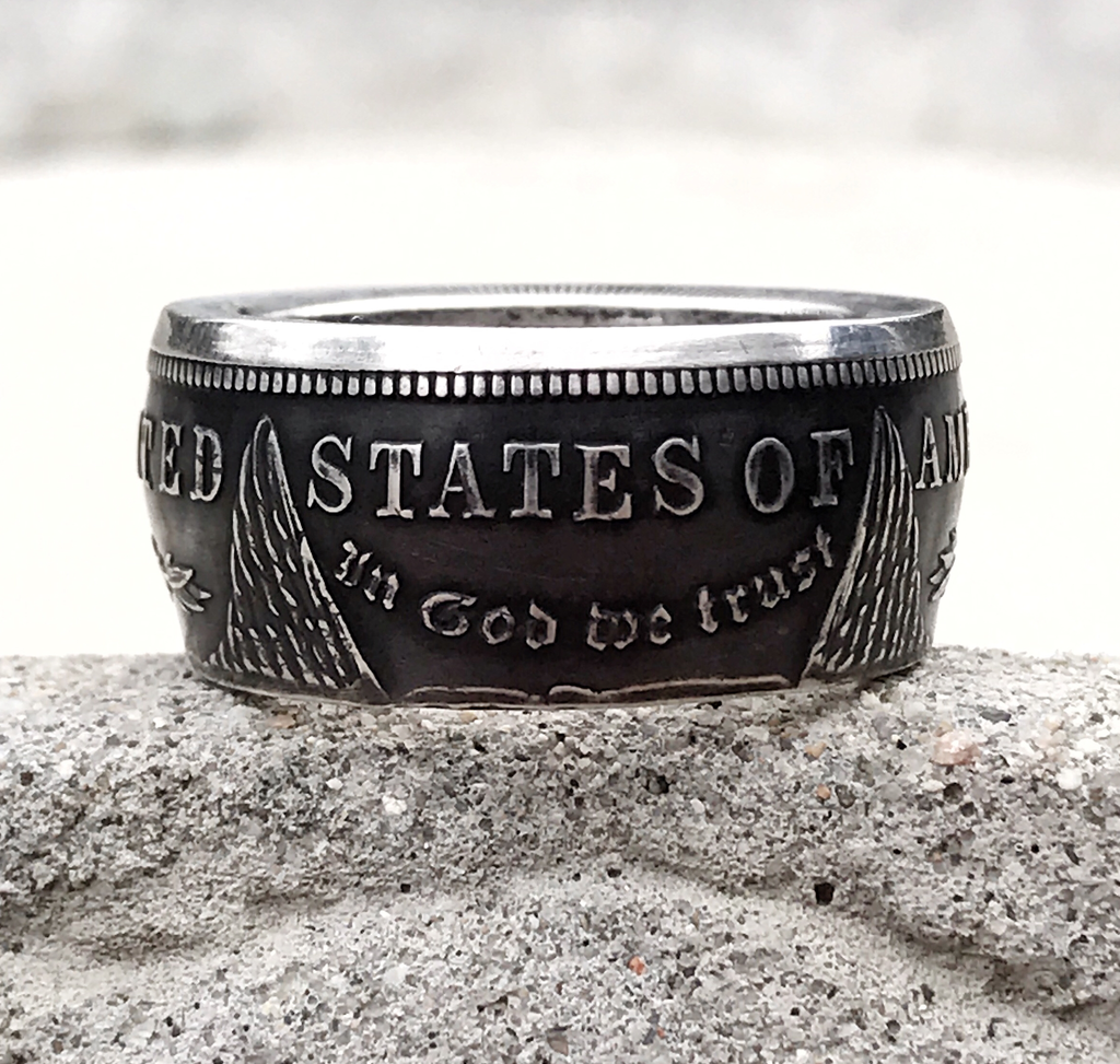 1889 Silver Morgan Dollar Coin Ring Mens Band Sizes 10-24 Half Unique Gift Large Wide CoinRing 30 Year Anniversary Gift 30th Birthday Gift