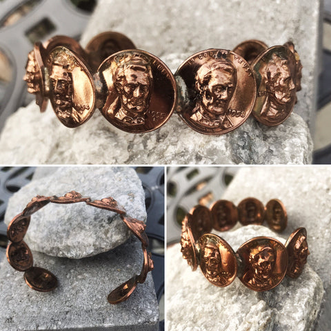 Lincoln Penny Pop Out Bracelet - Vintage Rare - Sold Out