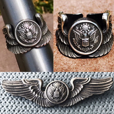 WW2 Steerling Silver Pilot Wings Ring - Size 13-14 Range - Just 1 Available