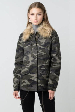 London, Camo Faux Fur Utility Anorak Jacket - Dimesi Boutique