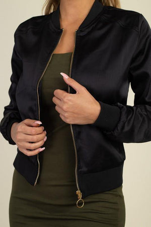 Maxima, Satin black bomber jacket - Dimesi Boutique