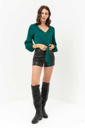 Jamie, Green top with buttoned and knotted silky