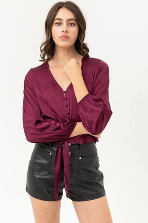 Jamie, Burgundy top with buttoned and knotted silky