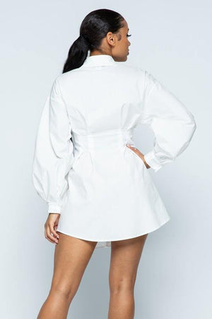 Keira, White Trench Button Down Dress Shirt