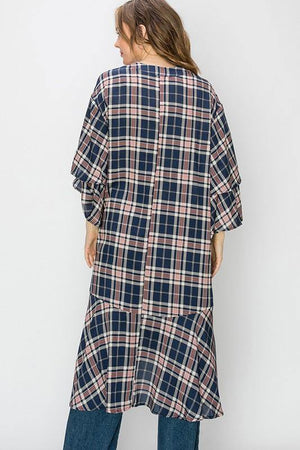 Monica, Navy blue plaid kimono - Dimesi Boutique
