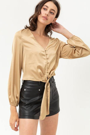 Jamie, Chagne top with buttoned and knotted silky