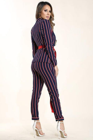 Greta, Belted blazer & Striped suit pants set