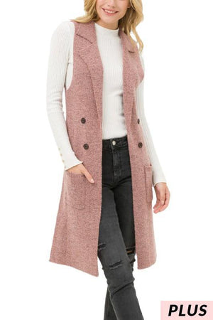 Yara, Mauve Sleeveless Long Cardigan Vest - Dimesi Boutique