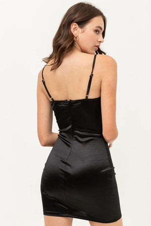 Kaia, Bodycon Satin Mini Dress With Spaghetti strap
