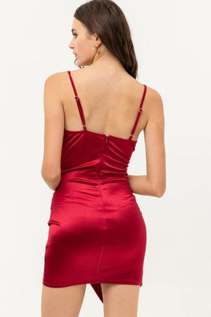 Holly, Burgundy V-Neck Satin Bodycon Wrap Mini Dress - Dimesi Boutique