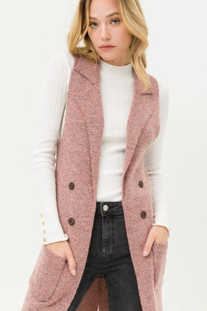 Yara, Mauve Sleeveless Long Cardigan Vest
