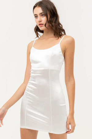 Kaia, White Bodycon Satin Mini Dress With Spaghetti strap - Dimesi Boutique