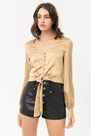 Jamie, Chagne top with buttoned and knotted silky - Dimesi Boutique