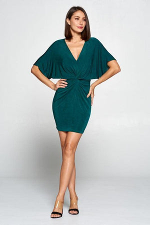 Jazz, Hunter green shiny mini dress with knotted waist - Dimesi Boutique