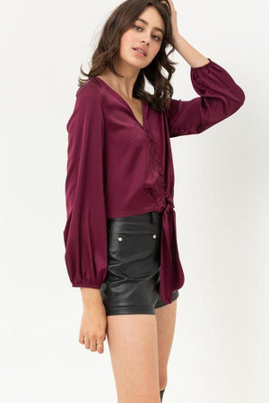 Jamie, Burgundy top with buttoned and knotted silky - Dimesi Boutique