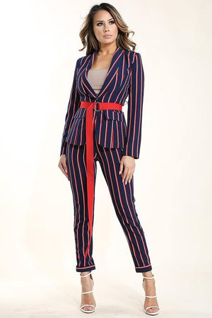 Greta, Belted blazer & Striped suit pants set - Dimesi Boutique