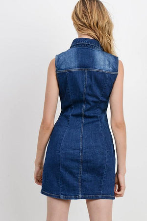 Paola, Basic collared denim dress - Dimesi Boutique