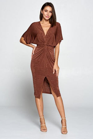 Jazz, Brown shiny midi dress with knotted waist - Dimesi Boutique