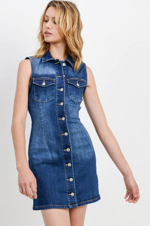 Paola, Basic collared denim dress