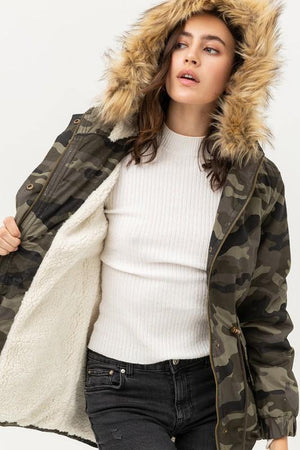 Mercy, Camouflage Pile Lined Faux Fur Hooded Jacket