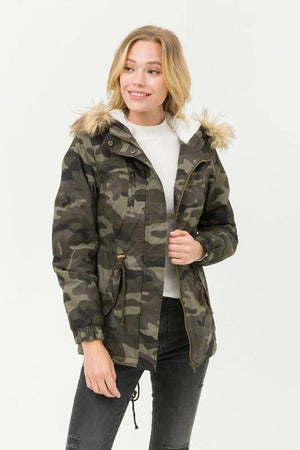 Mercy, Camouflage Pile Lined Faux Fur Hooded Jacket - Dimesi Boutique