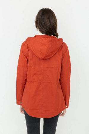 Paige, Rust windbreaker jacket with hooded - Dimesi Boutique