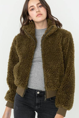 Vivian, Olive Soft Fur Zip Up Long Sleeve Bomber Jacket - Dimesi Boutique