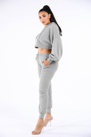 Kylie, Set with Crop Hoodie and jogger - Dimesi Boutique