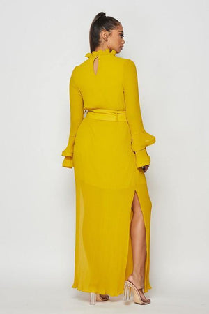Kim, Mustard maxi dress with frills - Dimesi Boutique