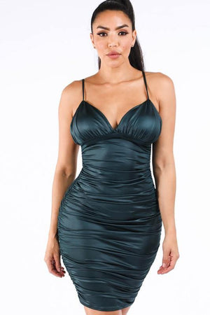 Crystal, Ruched hunter green dress - Dimesi Boutique