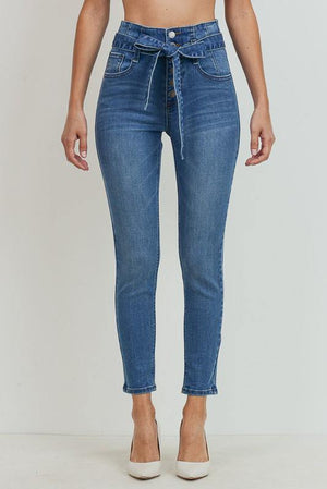 High rise button down skinny jeans with strap - Dimesi Boutique